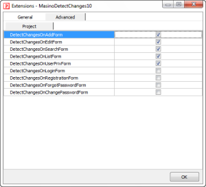Advanced Setting of MasinoDetectChanges10 extension.